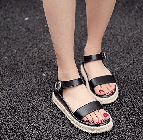 Mit schweren Boden weiblicher Sandalen Hanf Schuhe Muffin offene Sandalen mit Sandalen und Pantoffeln Wort Sommer Sandalen und Pantoffeln Frau Black