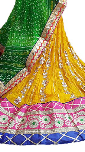 Lehenga Georgte With Heavy Gotta Work Yellow Colour & Dupatta Silk Bandhej...