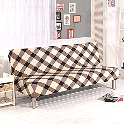 Armless Sofa Slipcover Stretch Sofa Bed Cover Protector Elastic Spandex Modern Simple Folding Couch Sofa Shield Futon Cover by Yunhigh - Plaid