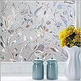 LQZ Privatsphäre Fensterfolie Sichtschutzfolie Milchglas Blumen Bunt UV Sonnenschutz innen Blickdicht Sichtschutz Badezimmer 60 cm