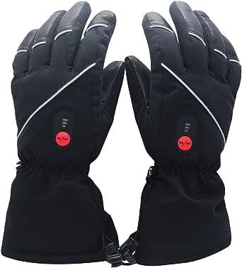 Savior beheizte Handschuhe für Männer und Frauen, Palm Lederhandschuhe für Winterski und Eislaufen , Arthritis Handschuhe und 7.4V 2200 Mah Elektrische wiederaufladbare Batterien Handschuhe, funktioniert bis zu 2,5-5 Stunden (Schwarz)