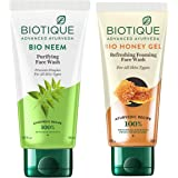 Biotique Bio Neem Purifying Face Wash for All Skin Types, 150ml & Biotique Bio Honey Gel Face Wash for All Skin Types, 100ml