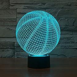 Baloncesto Lámparas de ilusión 3D 7 Táctil de colores Led Night Light para niños Regalos de Navidad