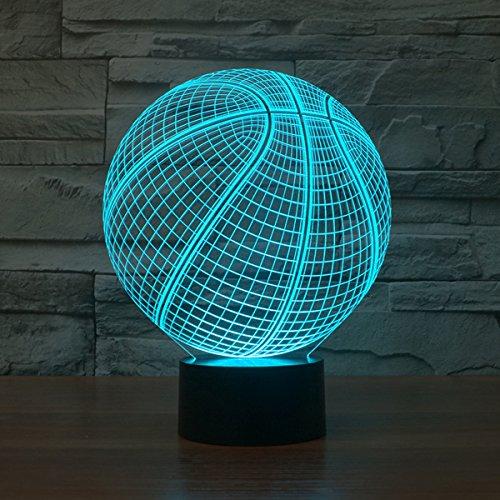 D Illusion Lampe führte Nacht Licht mit 7 Farben blinken & Touch-schalter USB-Stromversorgung Schlafzimmer Licht Schreibtischlampe Lampen für Kinder Geburtstag Geschenke Haus Dekoration (Licht Basketball)