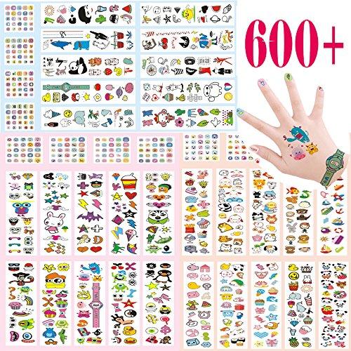 Kinder temporäre Tattoos und Nail Glitter Aufkleber 300+ verschiedenen farbenfrohen Designs Tattoo, 300Nagel Aufkleber mit Größen, Funny Monster Tiere Kreaturen Fruits Armbanduhr und mehr, Geschenk für Mädchen und Jungen, Party