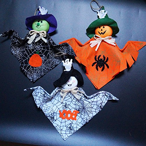 Lady Ghost Kostüme (Halloween Decoration, Asnlove 3 Pack Halloween Liefert für Kindergarten Malls Halloween Ghost Dekoration Anhänger Stoff Dekorationen Farbe Kreuz Grenze, Weiß, Orange und)