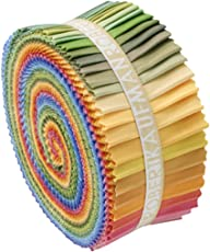 Robert Kaufman Kona Cotton Solids Fabric Strips Jelly Roll Dusty Rollup, 2.5inch (Multicolour, RU-229-41)