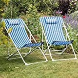 Pack Of 2 Harbour Housewares Metal Garden Deck Chair - 3 Positions - Blue / White Stripe - Pack Of 2