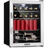 Klarstein Beersafe XL Mix It Edition • Kühlschrank • Getränkekühlschrank • Mini-Kühlschrank • Mini-Bar • 0 bis 13°C • 60 Liter • LED • 4 Metallroste • Glastür • leise • Silber-schwarz