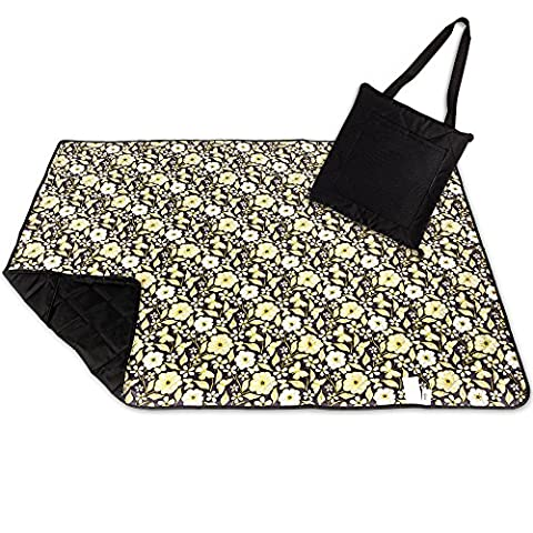 Roebury Picnic Blanket & Beach Blanket - Large Oversized Water-Resistant Sandproof Mat for Outdoor Travel or Camping Rug Folds into a compact Tote Bag [Gold Butterflies - Black Back]