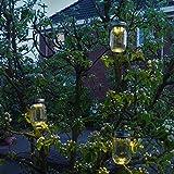 Gadgy ® Solarglas Einmachglas   Set 3 Stück mit 5 LED's   Warmweiß Licht   Solar Lampe für Außen   Garten Laterne - 8
