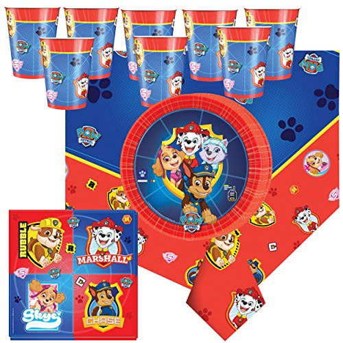 (Libetui 37 Teile Paw Patrol Party Geschirr Set Kindergeburtstag Teller Becher Servietten Tischdecke für 8 Kinder)