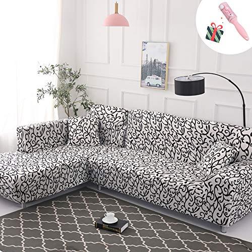 Morbuy copridivano classico copridivano elasticizzato fodera copridivani universale per divano con corda fissa sofa protettore copertura divano antiscivolo (3 posti,in bianco e nero)