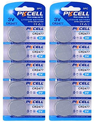 10 x CR2477 3V Lithium Knopfzelle 900 mAh ( 2 Blistercards a 5 Batterien ) Markenware PKCELL FBA