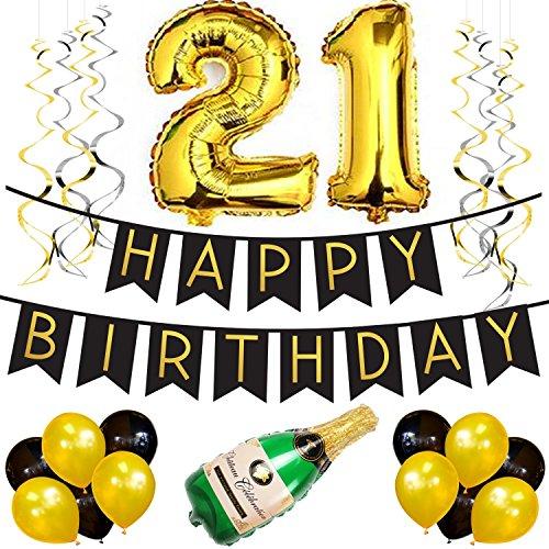 Set – Schwarz & Gold Happy Birthday Girlande, Luftballons, Pom Poms und Spiralgirlanden – Geburtstag Deko Zubehör (21st Geburtstag Zubehör)