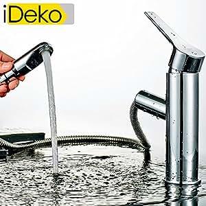 ideko robinet mitigeur lavabo robinet salle de bain avec douchette extractible en laiton avec. Black Bedroom Furniture Sets. Home Design Ideas