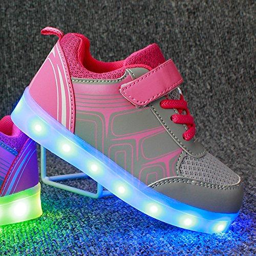 Cool&D LED Schuhe 7 Farben Leuchtend Kinder Schuhe Sportschuhe USB Aufladen LED Sneaker brillant Stil Turnschuhe für Mädchen Jungen Rosa