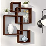 Dime Store Intersecting Wall Mount Wall Shelf Four Wall Shelves for Living Room (Standard, Elegant Brown)
