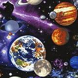 Schwarzer bunter Universum Weltraum Stoff mit Planeten von