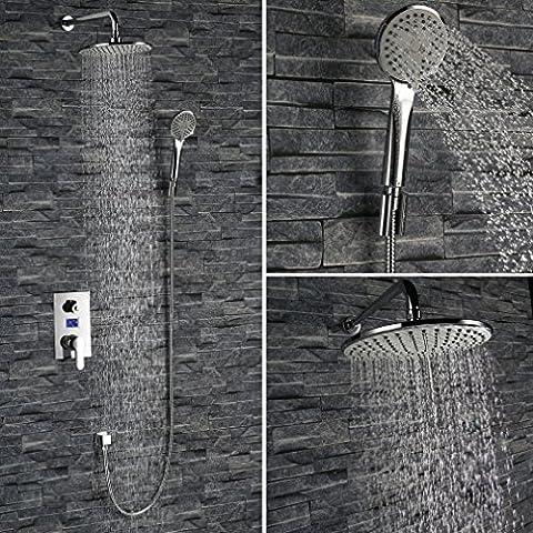KINSE® Display LCD sistema doccia grande disegno doccia a pioggia Vedi doccia set facile assemblaggio di temperatura cromato di alta qualità completamente set - Pannello Guarnire