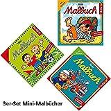 Lutz Mauder 3 Mini-Malbücher mit Stickern, Jungen: Fußball, Feuerweher + Pirat