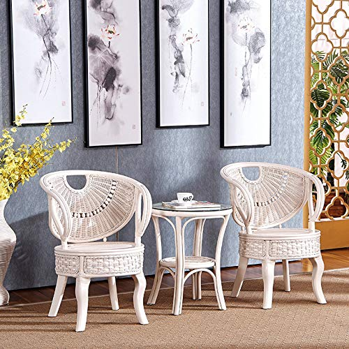 seeksungm Chair, table, rotin Leisure Table And Chair Set, Indoor and Outdoor Environmental Protection PE rotin Woven Table And Chair Furniture, Three-piece (1 table and 2 chairs)