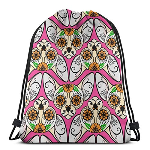 vintage cap Pink Sugar Skull Sphynx Cat Chevrons_5953 3D Print Drawstring Backpack Rucksack Shoulder Bags Gym Bag for Adult 16.9