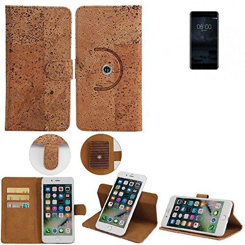 K-S-Trade Schutz Hülle für Nokia 6 Dual-SIM Handyhülle Kork Handy Tasche Korkhülle Handytasche Wallet Case Walletcase Schutzhülle Flip Cover Smartphone