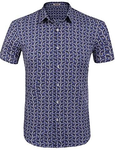 HOTOUCH Men's Printing Pattern Casual Short Sleeve Shirt Multicolor 2 XXL