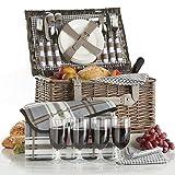 VonShef Deluxe 4 Personen Traditioneller Weidenkorb Picknickkorb mit Besteck, Tellern, Gläsern, Geschirr & Vliesdecke – Grauer Gingham
