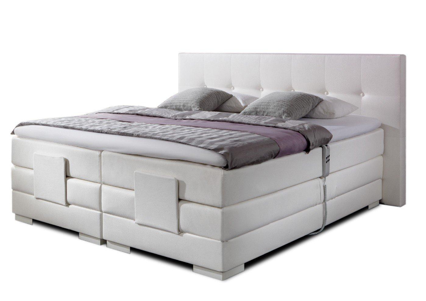 Boxspringbett weiß stoff  Luxus Boxspringbett in weiss elektrisch verstellbar NIZZA in 30 ...