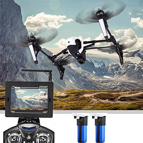 Wltoys Q333A FPV Drohne mit Kamera und Bildschirm 5.8G Live Übertragung Monitor 720P Cam Headless Modus für Erfahrener, mit 4G Speicherkarte, Garantie, 2 Akkus, Deutsche Anleitung, Weiß