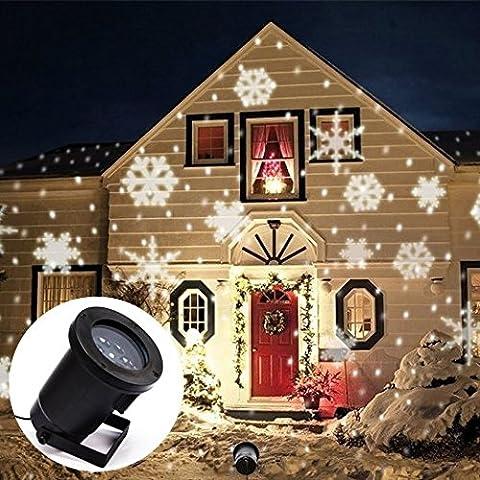 Luz de proyección de noche LED, blanco copos de nieve luz de proyección LED, espumoso proyector de LED Spotlight paisaje, la pared y el árbol Navidad luz de la fiesta decoración de la fiesta(Blanco)