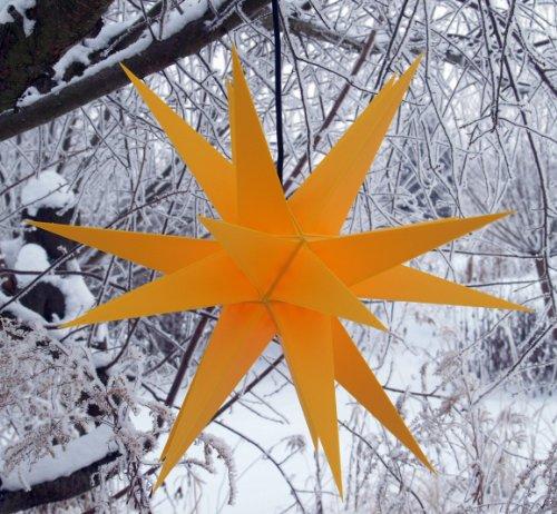 Melchior Outdoor II Gelb, sehr stabiler 3D Außenstern Ø 60 cm, mit 20 Spitzen, inkl. 4 m Außenkabel - Weihnachtsstern, Adventsstern