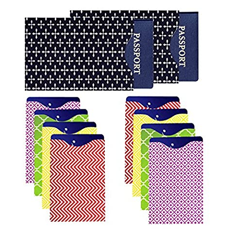 Signal Red Lot de 8 protecteurs plastifiés pour carte de crédit et de 2 protecteurs plastifiés pour passeport Anti-RFID Tient dans votre portefeuille ou sac