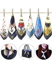 6 pcs femmes petites foulards carrés soie sentiment satin Bandana dames hôtesse de la main main sac à main Multiuse mixte 19,7 x 19,7 pouces