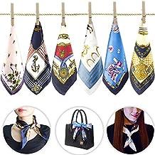 6 pcs femmes petites foulards carrés soie sentiment satin Bandana dames  hôtesse de la main main 75d83d0f82f