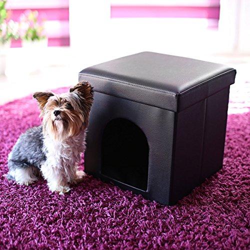 *Relaxdays 10019046 Maison pour petits chiens et chats pliable pliante banc en similicuir confortable Tabouret abri panier malle cube niche HxlxP : 38 x 38 x 38 cm repose-pieds couvercle amovible, noir Offre de prix