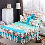 Leoie Floral Fitted Sheet Cover Graceful Bedspread Laced Fitted Sheet Bed Skirt