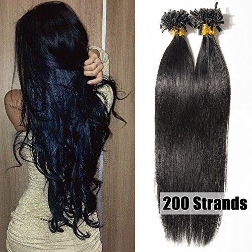 50cm extension capelli veri cheratina 200 ciocche 100g/pack u-tip allungamento remy human hair naturali, 1# nero