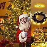 [ Fernbedienung und Timer ] lichterkette 10m 100er Dimmbare Wasserdichte Warmweisse Weihnachtsbeleuchtung mit 8 Modi als Lichterkette Innen, Aussenbeleuchtung, LED Lichterkette mit Batterie