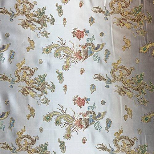 Off Weiß 114,3cm breit geflochten Chinesischer Drache Brokat Kleid Stoff-Meterware -