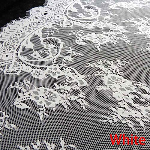 Soft Crafts Soft Sewing Underwear Floral Mesh Lingerie Fabric Eyelash Lace Trim(+White) -