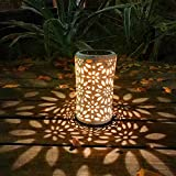 Solarlichter-Garten beleuchtet Garten beleuchtet Weinlese-Chrysantheme-zylinderförmige Lichter eingefügt hängende Garten-Dekorations-Umgebungslicht-Landschaftslichter,IP44 wasserdicht,11 * 10,2 * 41cm