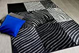 Teppich Trendline Zebra Karo Schwarz Grau in 4 Größen