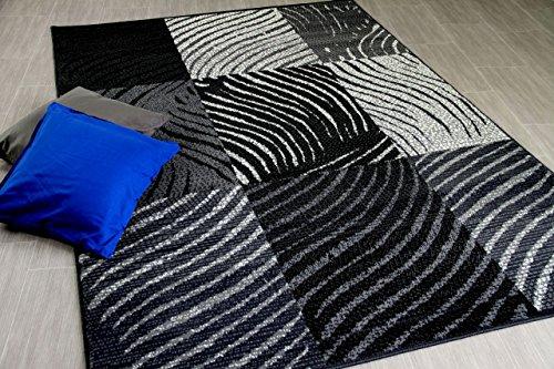 TrendLine Teppich Zebra Karo Schwarz Grau in 4 Größen