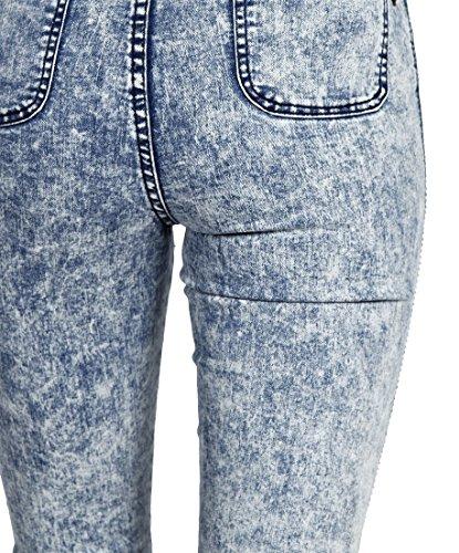 SS7 - Jeans Moulant Pour Femmes Délavé Neuf Acide Bleu