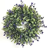 LanLan Lifelike Artificial Green Leaf Wreath Flowers Door Hanging Wall Window Decoration Wedding Party Christmas Decor Whit Flour E# Outer Diameter 30CM