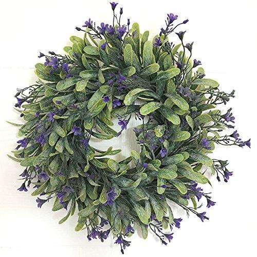LinTimes künstlicher Kranz, mit Blumen und grünen Blättern, zum Aufhängen auf der Tür, Wand; für Hochzeiten, Partys, Weihnachten, Style C, with flour