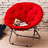 YYdy-Small wooden stool Moon Stühle Lazy Klappstuhl Lunch Break Loungers Back Stühle Sun Loungers Single (Farbe : Rot)